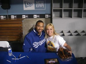 KIBS KBOV Owner Lauren Brandt with LA Dodger Matt Kemp.