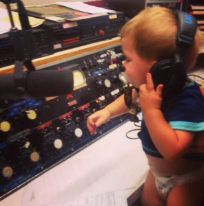 Silas Nye, Our Newest (Literally) Team Member Engineering the LA Dodger Broadcast on Saturday, August 23, 2014.