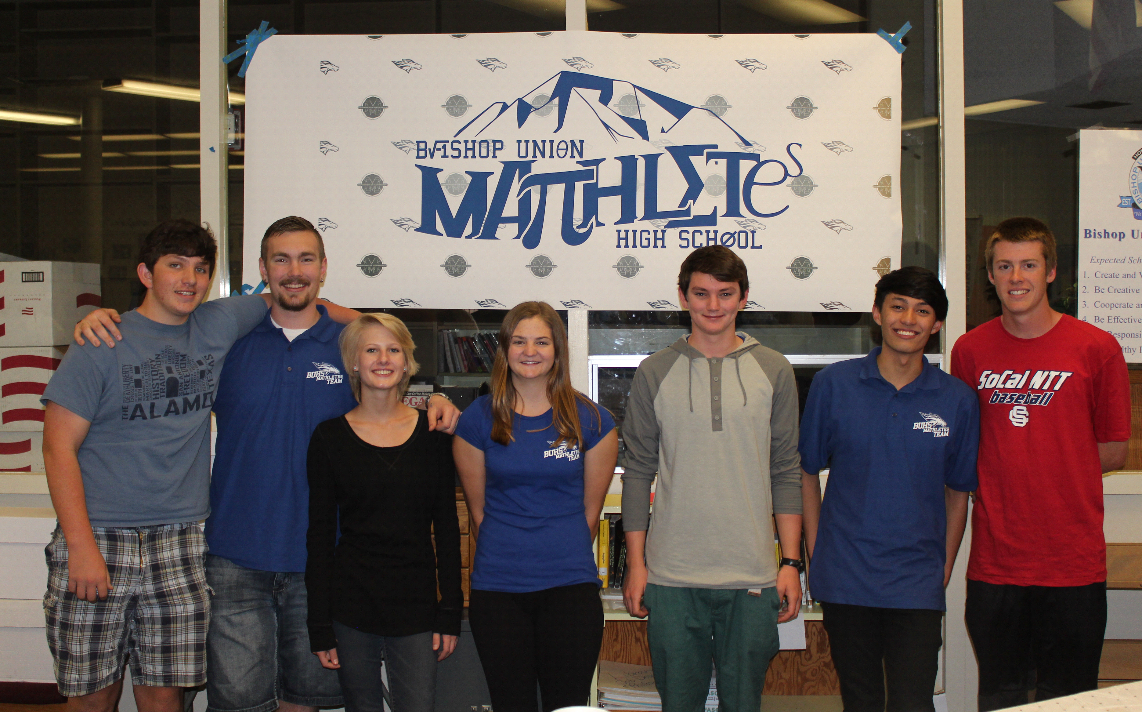 Bishop Mathletes gather before the April 29, 2015 Mathletes Meet held at BUHS. Left to right: Joey Harvey, Robby Moore, Hannah Murray, Jamie Shultz, Stephen Stickells, Thomas Sills, and Colton Riesen.