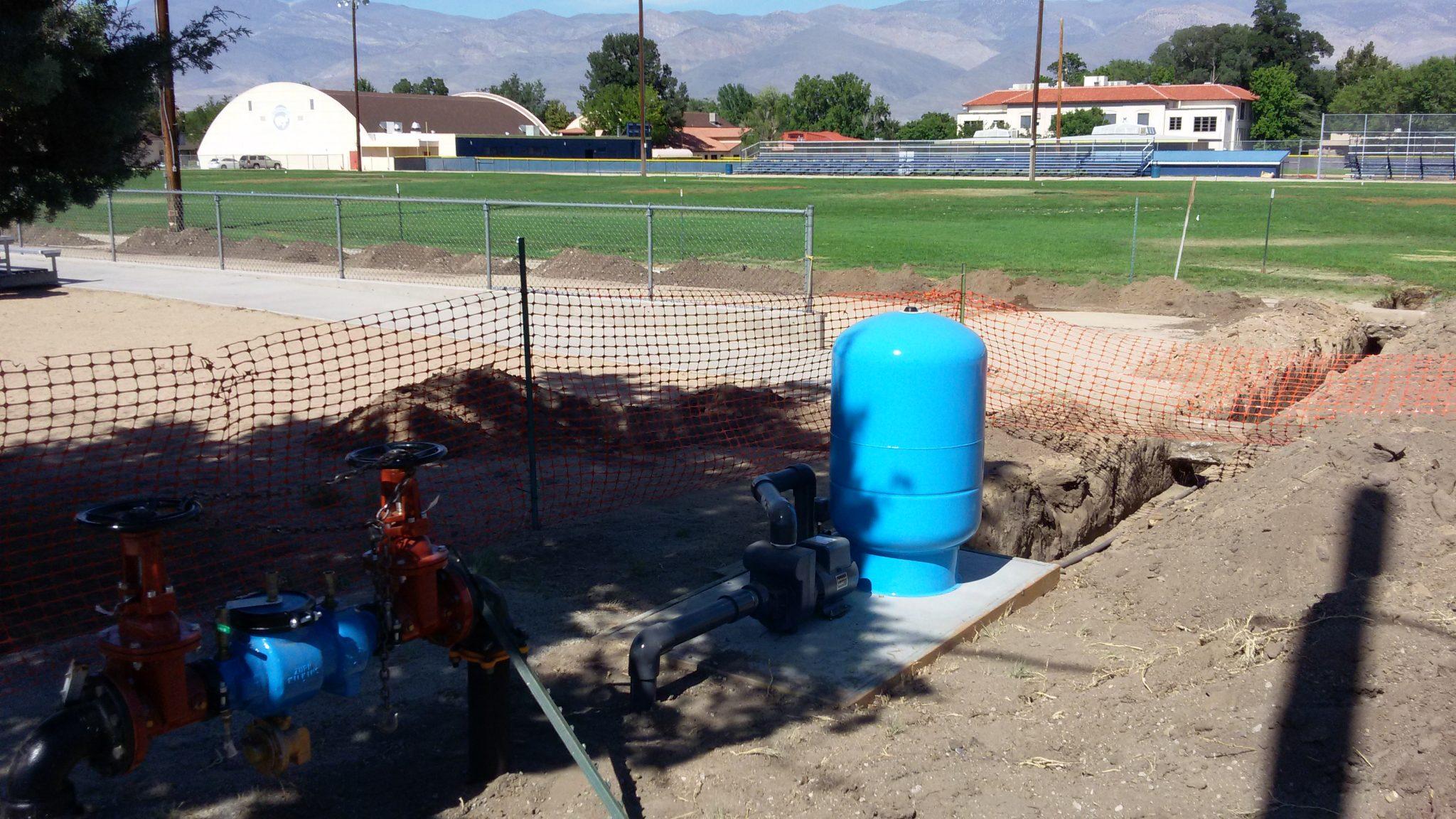 irrigation infrastructure near home street.