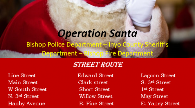SANTA COMING TO BISHOP AND LONE PINE